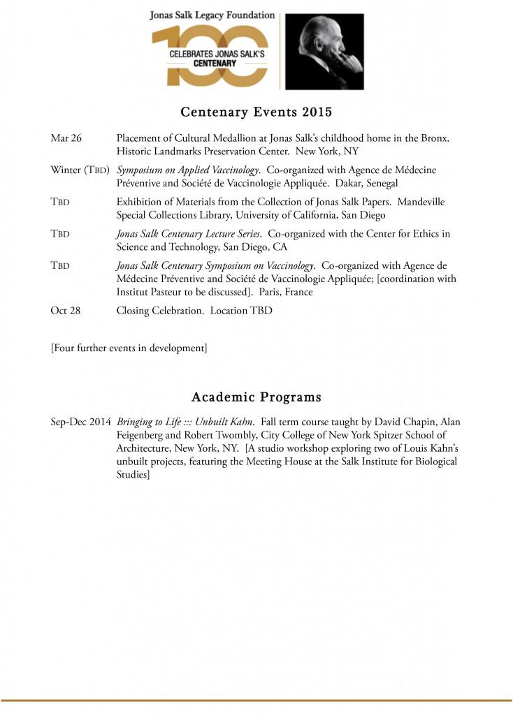 Jonas Salk Legacy Foundation (JSLF) Centenary Calendar Page 2