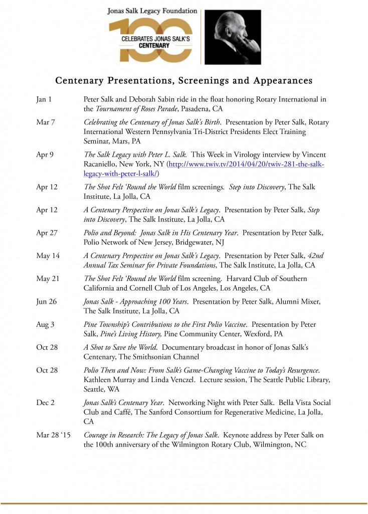 Jonas Salk Legacy Foundation (JSLF) Centenary Calendar Page 1